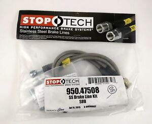 Stoptech Rear Stainless Steel Braided Brake Lines Pair Subaru Wrx Sti 08 New