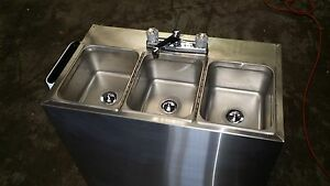 Portable Self Contained 3 Compartment Sink Stainless Food Truck Hot Water