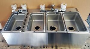 New 4 Compartment Sink Ready To Install Wall Mount Food Cart Stainless