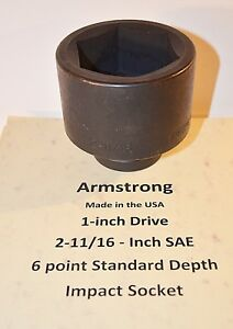 2 11 16 Inch Armstrong Usa 1 Inch Drive Impact Socket 6 Point New Ships Free