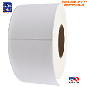 4 Rolls 4 X 6 Direct Thermal Zebra Fasson Labels 3 Inch Core 1000 Labels 4x6