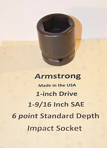 1 9 16 Inch Armstrong Usa 1 Inch Drive Impact Socket 6 Point New
