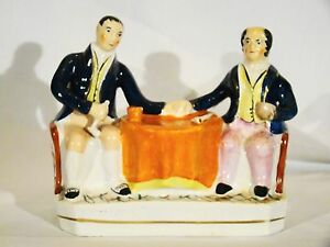 Staffordshire Figurine Of Father Son Seated Smokers 19th C