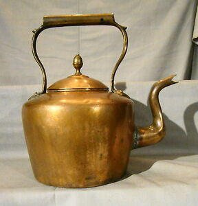 Antique Hand Made Dove Tailed Hinged Lid Copper Tea Kettle Pot Early 19th