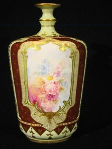 Antique Royal Bonn Hand Painted Floral Vase 7 H 1890 1920