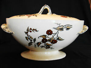 Antique Ironstone Transferware Copeland Ashburne Oval Floral Soup Tureen 1873