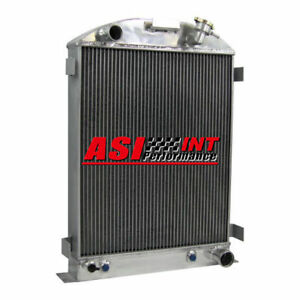 4 Row Aluminum Coolant Radiator For 1933 1934 Ford grill shells Chevy V8 engine