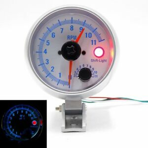 Chrome Auto Tachometer Gauge 0 11000 Rpm Blue Led Tacho Meter With Shift Light