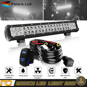 20inch 126w Spot Flood Combo Led Light Bar Work Driving Suv With Wiring Kit