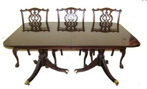 Antique George Ii Chippendale Revival Mahogany Dining Set C Early 1900 S