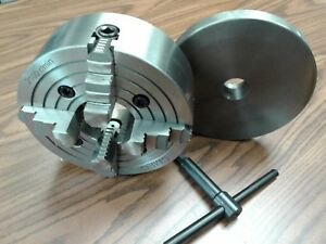 8 4 jaw Lathe Chuck W Independent Jaws W 1 1 2 8 Adapter Semi finish 0804f0