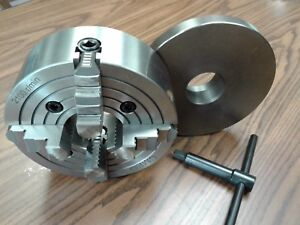 8 4 jaw Lathe Chuck W Independent Jaws W 2 1 4 8 Adapter Semi finish 0804f0