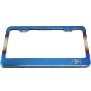 Burnt Titanium Blue Steel License Plate Frames Us Ca Il For Dodge Journey Atos