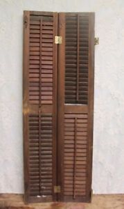 Pair Of Salvaged Antique Louvered Wood Shutters 42 5 Tall