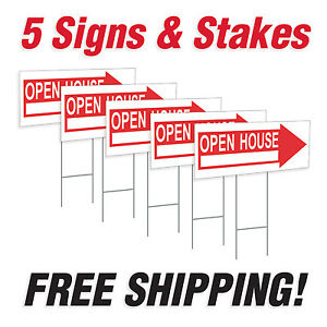 5 10 X 24 Open House Directional Signs Corrugated Plastic Free Stakes