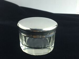 Antique Sterling Silver And Lead Crystal 10 Sided Powder Jar