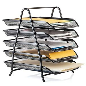 Halter Steel Mesh 5 Tier Shelf Tray Organizer For Desktop Black Steel Mesh New