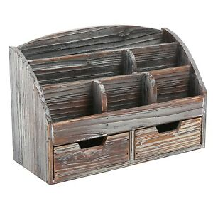 Mygift Distressed Wood Desk Organizer 6 Compartment 2 Drawer Rustic Style Brown