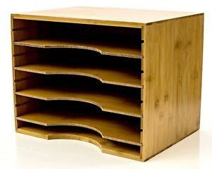 File Organizer Mail Sorter With Four Adjustable Dividers Natural Bamboo Wood New