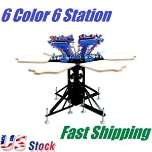 6 Color 6 Station Screen Printing Machine Micro adjust Rotatable T shirt Press