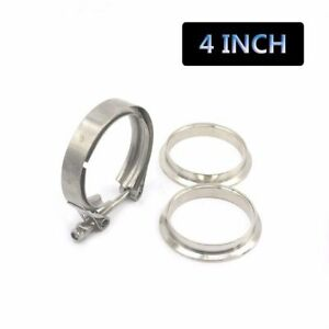 4 Inch Turbo Exhaust Down Pipe Stainless Steel V Band Clamp 2 Flange Universal