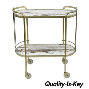 Vtg Mid Century Modern Brass Rolling Bar Tea Cart Table Laminate Faux Marble Top