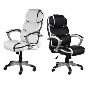 Black Pu Leather High Back Office Chair Executive Task Ergonomic Computer Desk F