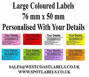 Coloured Large Personalised Address Craft Food Return Business Labels Stickers