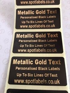 Gold Metallic Personalised Black Labels Address Crafts Bespoke Business