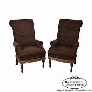 Drexel Pair Of High Back Upholstered Host Arm Chairs B