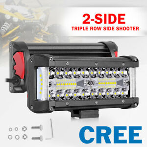 8 Inch 102w Tri Row Led Light Bar Side Shooter Combo Off Road Driving Truck 4wd