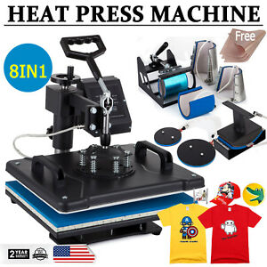 8 In 1 Dual Digital Transfer Sublimation Heat Press Machine T shirt Mug 15 x12