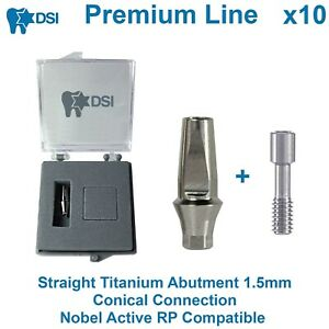 10 Dsi Dental Implant Straight Anatomic Abutment Conical Nobel Active Rp 1 5