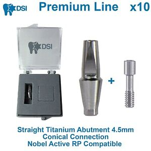 10 Dsi Dental Implant Straight Anatomic Abutment Conical Nobel Active Rp 4 5