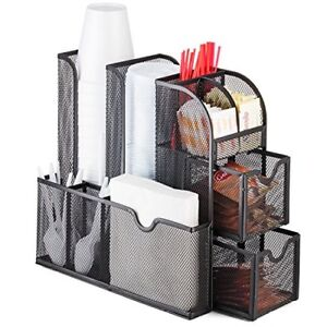 Halter Mesh Coffee Accessories Caddy Organizer 9 Compartments And 2 Drawers