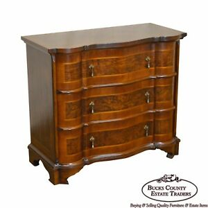 Trouvailles Continental Style Burl Wood Serpentine Chest Of Drawers