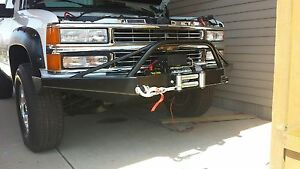 Chevy Gmc Truck 1500 2500 Front Winch Bumper 88 98 Brush Guard Black Usa Made