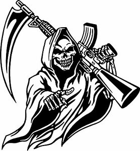 Grim Reaper Machine Gun Skull Hunting Car Truck Window Large Vinyl Decal Sticker