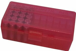 NEW MTM 50 Round Flip-Top 3809MM Cal Ammo Box - Clear Red