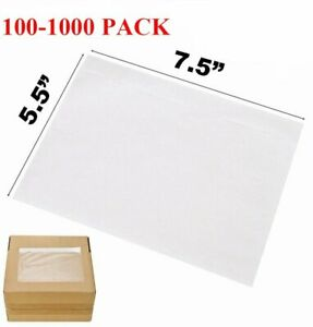 100 1000 7 5 X 5 5 Clear Packing Pouches List Invoice Shipping Envelope Adhesive