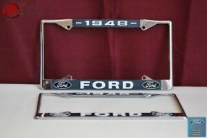 1948 Ford Car Pick Up Truck Front Rear License Plate Holder Chrome Frames New Fits Ford Prefect