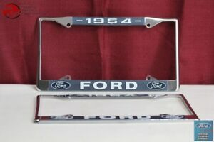1954 Ford Car Pick Up Truck Front Rear License Plate Holder Chrome Frames New