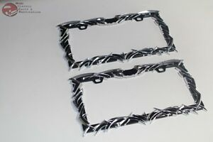 Front Rear Tribal Flame License Plate Frames Black Chrome Accent Hot Rod Truck