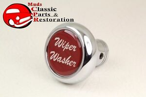 Deluxe Wiper Washer Inside Cab Dash Knob Truck Rat Rod Custom Rig Glossy Red
