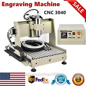 4 Axis 800w Cnc 3040t Router Engraver Engraving Cutting Milling Desktop Machine