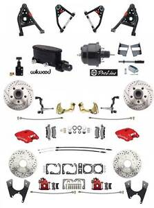 1967 69 Camaro Red Wilwood Calipers Front Rear Power Disc Brake Kit Control Arms