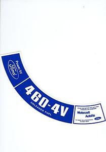 1975 1976 Ford Truck 460 4v Air Cleaner Decal