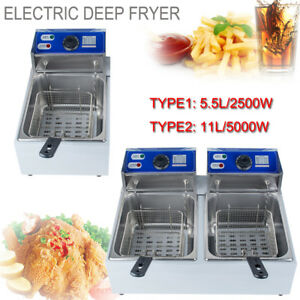 Electric Countertop Deep Fryer Commercial Basket French Fry Single dual Tanks Us
