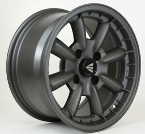 15x8 Enkei Compe 4x100 25 Gunmetal Wheels Rims Set 4