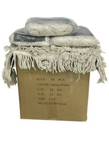 40ct Box Industrial 24x5 Dust Mop Pad Cotton Yarn Head Refill Replacement